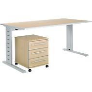 Büromöbelset 2-tlg. Moxxo IQ Schreibtisch B 1600 x T 800 mm, C-Fuß + Rollcontainer 333, Ahorn-Dekor