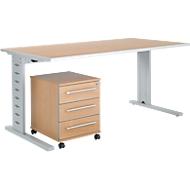 Büromöbelset 2-tlg. Moxxo IQ Schreibtisch B 1600 x T 800 mm, C-Fuß + Rollcontainer 333, Buche-Dekor