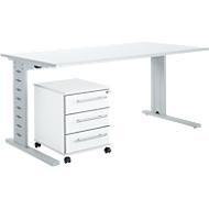 Büromöbelset 2-tlg. Moxxo IQ Schreibtisch B 1600 x T 800 mm, C-Fuß + Rollcontainer 333, weiß