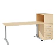 Büromöbelset LOGIN 2-teilig, Schreibtisch B 1600 mm + Anstellcontainer mit Aufsatzregal, Ahorn