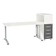 Büromöbelset LOGIN 2-teilig, Schreibtisch B 1600 mm + Anstellcontainer mit Aufsatzregal, weiß/graphit