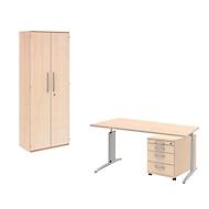 Büromöbelset3-tlg.BARI Schreibtisch, + Rollcontainer, Aktenschrank, Ahorn
