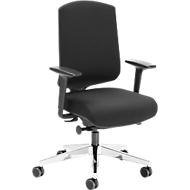 Bürostuhl AIR-SEAT, Synchronmechanik, mit Armlehnen, Lordosenstütze, Schiebesitz, schwarz