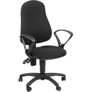 Bürostuhl ErgoTop, Permanentkontakt, mit Armlehnen, ergonomische Lehne, breite Sitzfläche, schwarz