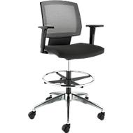 Bürostuhl MESH, mit Armlehnen, atmungsaktive Netz-Rückenlehne, Muldensitz, mit Fußring