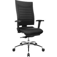 Bürostuhl SSI PROLINE S3, Synchronmechanik, mit Armlehnen, 3D-Netz-Rückenlehne, Bandscheibensitz, schwarz/schwarz