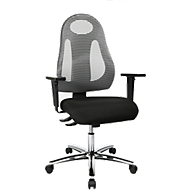 Bürostuhl Topstar FREE ART, Synchronmechanik, ohne Armlehnen, atmungsaktive Design-Rückenlehne, hellgrau
