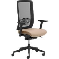 Bürostuhl WIKI, mit Armlehnen, Netz-Rücken, Gestell Kunststoff, beige