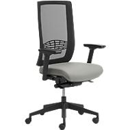 Bürostuhl WIKI, mit Armlehnen, Netz-Rücken, Gestell Kunststoff, lichtgrau