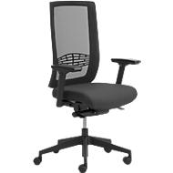 Bürostuhl WIKI, mit Armlehnen, Netz-Rücken, Gestell Kunststoff, schwarz