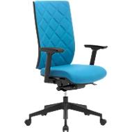 Bürostuhl WIKI, mit Armlehnen, Stoff-Rücken, Gestell Kunststoff, lichtblau
