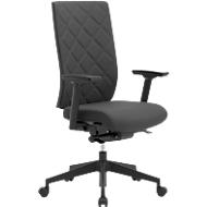 Bürostuhl WIKI, mit Armlehnen, Stoff-Rücken, Gestell Kunststoff, schwarz