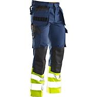 Bundhose Jobman 2277 PRACTICAL, Hi-Vis,  mit Kniepolster- & Holstertaschen, Warnschutzklasse I, dunkelblau I gelb, 48