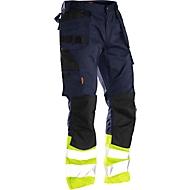 Bundhose Jobman 2513 PRACTICAL, Hi-Vis, mit Kniepolster- & Holstertaschen, EN ISO 20471 Klasse 1, dunkelblau I gelb, 42