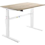 Bureau, elektrisch in hoogte verstelbaar, rechthoekig, C-poot, eiken/wit, B 1200 mm