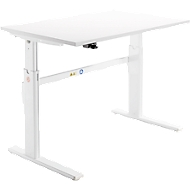 Bureau, elektrisch in hoogte verstelbaar, rechthoekig, C-poot, wit/wit, B 1200 mm