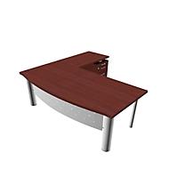 Bureau met dressoir X-TIME-WORK, 4 poten, gebogen, B 2000 x D 900 x H 740 mm, wengédecor/witte decor/wit