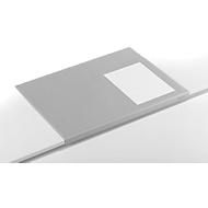 Bureau onderlegger, soepele pvc-folie, 650 x 520 mm, randbescherming, grijs