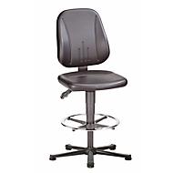 Bureaustoel 9651 ESD, kunstleer, met glijder en voetenring, skai grijs