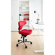 Bureaustoel Ergo+, asynchroon mechanisme, kuipzitting, T-vorm rugleuning, rood/aluminiumzilver