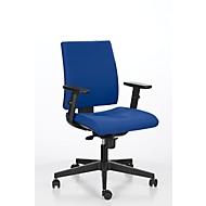 Bureaustoel INTRATA, synchroonmechanisme, zonder armleuningen, kuipzitting met knierol, tot 110 kg, kunststof, blauw