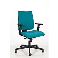 Bureaustoel INTRATA, synchroonmechanisme, zonder armleuningen, kuipzitting met knierol, tot 110 kg, kunststof, turquoise