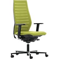 Bureaustoel R 12, met armleuningen, onderstel zwart, groen