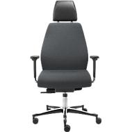 Bureaustoel TEC 24/7 klassiek, synchroonmechanisme, met armleuningen, gestoffeerde rugleuning, grijs