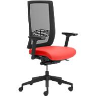 Bureaustoel WIKI, met armleuningen, gazen rugleuning, onderstel kunststof, rood