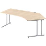 Bureautafel 135° COMBITEC, B 2165 x D 800 x H 677-817 mm, esdoorn/blank aluminium