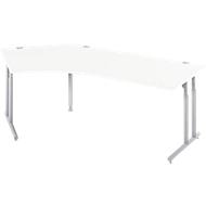Bureautafel 135° COMBITEC, C-poot, vrije vorm, aanbouw links, B 2165 x D 800 x 677-817 mm, wit/blank aluminium