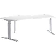 Bureautafel 135° ERGO-T, T-poot, aanbouw links, handm. in hoogte verstelbaar, B 2165 mm, wit