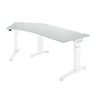 Bureautafel 135° PLANOVA ergoSTYLE, aanbouw links, handm. in hoogte verstelbaar, B 2165 x D 800 mm, lichtgrijs/wit