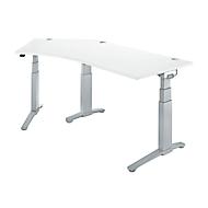 Bureautafel 135° PLANOVA ergoSTYLE, aanbouw links, tweetraps elektr. in hoogte verstelbaar, B 2165 mm, wit/blank aluminium
