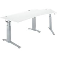 Bureautafel 135° PLANOVA ERGOSTYLE, aanbouw rechts, eentraps elektrisch in hoogte verstelbaar, B 2165 mm, wit/blank aluminium