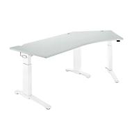 Bureautafel 135° PLANOVA ergoSTYLE, aanbouw rechts, handm. in hoogte verstelbaar, B 2165 x D 800 mm, lichtgrijs/wit