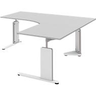 Bureautafel, aanbouwtafel rechts BARI, C-poot, vorm B, vrije vorm, B 1800 mm, lichtgrijs