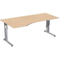Bureautafel ALICANTE, vrije vorm, aanbouw links, B 1800 x D 1000/800 x H 680-820 mm, beukenpatroon