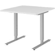 Bureautafel BARI, T-poot, rechthoek, B 800 x D 800 x H 680-820 mm, wit/aluminium