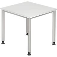 Bureautafel CLUBWORK, 4-poot, vierkant, B 800 x D 800 x H 680 - 760 mm, lichtgrijs