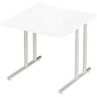 Bureautafel COMBITEC, B 800 x D 800 x H 677-817 mm, wit/blank aluminium