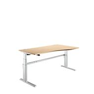 Bureautafel Comfort, aanbouw rechts, tweetraps elektrisch in hoogte verstelbaar, B 1800 mm, esdoorn/blank aluminium