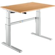 Bureautafel Comfort, tweetraps elektrisch in hoogte verstelbaar, B 1200 mm, beuken/blank aluminium