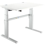 Bureautafel Comfort, tweetraps elektrisch in hoogte verstelbaar, B 1200 mm, wit/blank aluminium