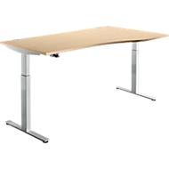 Bureautafel DRIVE UP 1, aanbouw rechts, T-poot, vrije vorm, eentraps elektr. in hoogte verstelbaar, esdoorn/blank aluminium