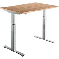 Bureautafel DRIVE UP 1, T-poot, rechthoek, eentraps elektr. in hoogte verstelbaar, B 1200 mm, kersen-Romana/blank aluminium