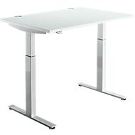 Bureautafel DRIVE UP 1, T-poot, rechthoek, eentraps elektr. in hoogte verstelbaar, B 1200 mm, lichtgrijs/blank aluminium
