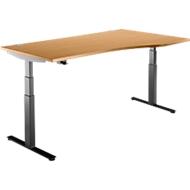 Bureautafel DRIVE UP 2, Aanbouw rechts, T-poot, vrije vorm, in hoogte verstelbaar, beuken/zwart
