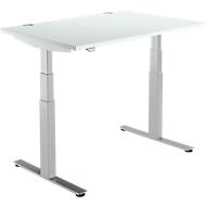 Bureautafel DRIVE UP 2, T-poot, rechthoek, tweetraps elektrisch in hoogte verstelbaar, B 1200 mm, lichtgrijs/blank aluminium
