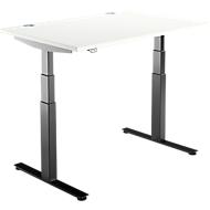 Bureautafel DRIVE UP 2, T-poot, rechthoek, tweetraps elektrisch in hoogte verstelbaar, B 1200 mm, wit/zwart